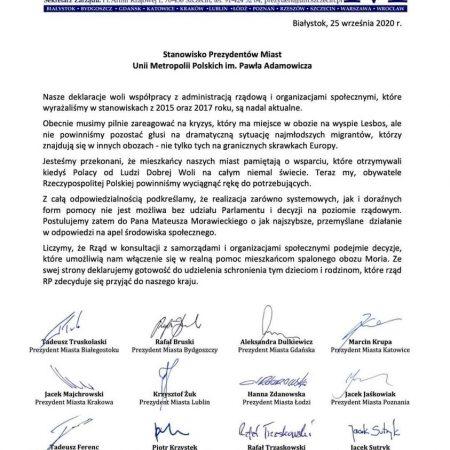 Odpowiedź Unii Metropolii Polskich na apel ws. uchodźców z Morii